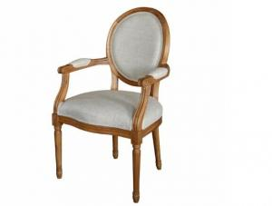China French Antique Wooden Armchair dining chair Upholstered For Bedroom , Color Customized on sale