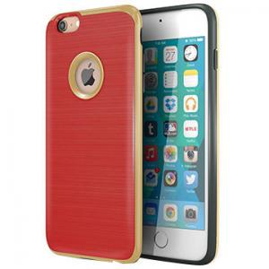 China Red TPU Hard PC Bumper Hybrid Protective Personalized Iphone Case Brushed Texture on sale