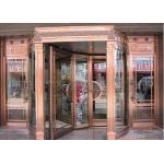 青銅色の彫版の花のホテルの入口の自動回転ドア OEM サービス