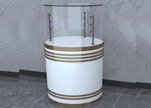 Quality Wooden White Custom Glass Display Cases Fashion Round Shape With LED Pole Lighting for sale