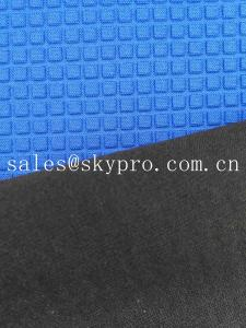 China Super Stretch Square Pattern Blue Neoprene Rubber Sheet Coated Nylon Fabric Roll on sale