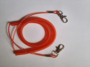 China Red reinforced coil fishing rod leash lanyard with stainless steel wire w/double hooks on sale