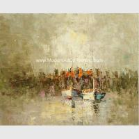 China Framed Palette Knife Oil Painting , Abstract sailboat scenery wall art painting on sale