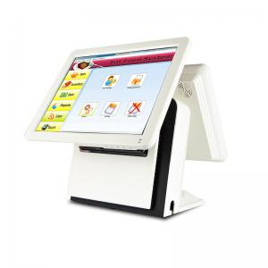 China Double Screen POS Dual Display Fast Heat Dissipation White Color Embedded Panel Type on sale
