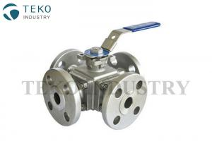 China API 6D 3 Way Flanged Ball Valve , Wide Application Four Way Ball Valve With Solid Ball on sale
