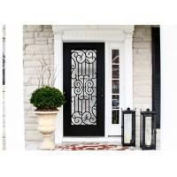 Durable Wrought Iron Glass Inlaid Door , Decorations Wrought Iron Interior Doors