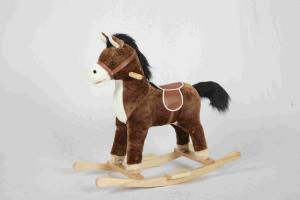 China 2.1KG Brown Wooden Rocking Horse Pony With Realistic Sounds / Two Curved Rails on sale