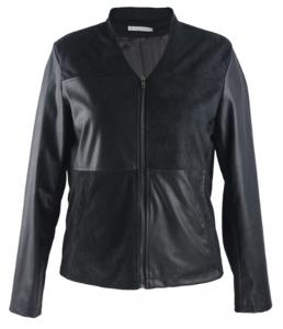 China V Neck Ladies Slim Fit Womens Faux Leather Jackets Long Sleeve With Zipper on sale