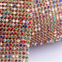 China DIY Wedding Diamond Mesh Wrap Roll Sparkling Colorful Stone 43x115cm/Roll on sale