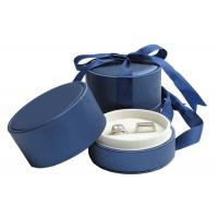China Wedding Double Rings Jewelry Paper Boxes With Ribbon Dark Blue on sale