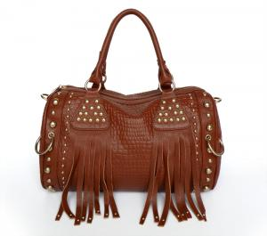 China Fashion Design New Red-brown Genuine Leather Lady Studded Tote Bag Handbag #3010X on sale