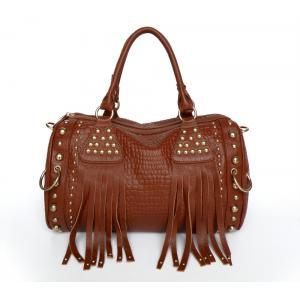 China Fashion Design New Red-brown Genuine Leather Lady Studded Tote Bag Handbag #3010X on sale