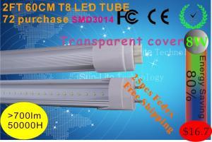 China Hot produce LED TUBE 0.6M T8 led lamp Transparent cover 8W 72leds SMD3014 700LM LED lighting on sale
