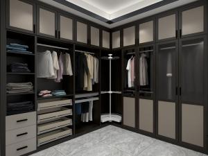 China Corner Wardrobe Cabinets MDF Melamine Board Big Bedroom Closet With Storage Drawers And Display Shelves on sale