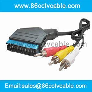 China SCART To 3 RCA Cable, Scart Splitter, Audio Video Cable on sale