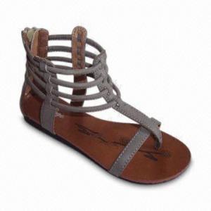 China Women's Flip-flop, Flat Casual PU Upper, PU Insole, TPR Outsole Materials on sale