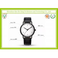 White Dial Black Strap Leather Strap Watch Waterproof With Japan Movt