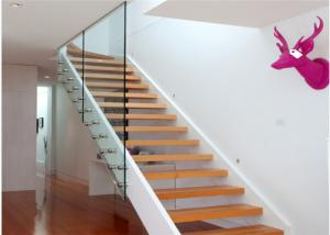 China Easy Assembling Modern Straight Staircase , Steel Wood Stairs For Public Project on sale