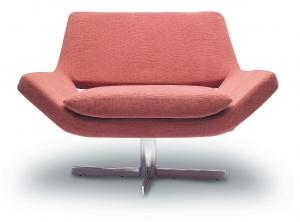 China Durable Orange Fabric Large Swivel Leisure Lounge Chair Living Room Furniture on sale