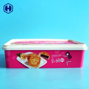 China Small IML Box Moon Biscuits Cheese Cake Plastic Container Anti - Scratch on sale
