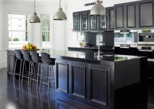 Quality European Pvc Kitchen Cabinets Waterproof Kitchen Units Black Color  With Island For Sale ...