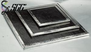 China Black Square Slate Board with Stainless Steel Frame For Buffet Food Display on sale