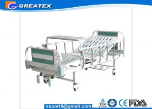 China CE ISO Approved Durable frame Steel Headboard Manual Hospital Bed With Foldable Table on sale