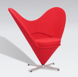 China Durable Fabric Upholstered Heart Shaped Chair With Swivel Base For Showroom on sale