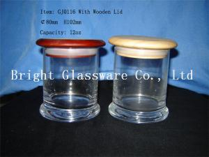 China different size glass candle jars with wooden lid wholesale on sale