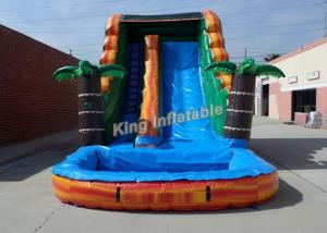 China Bright Inflatable Jumping Slide , Tropical 18 Feet Water Slide With PVC Tarpaulin on sale
