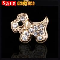 Golden Crystal Dog Brooches, Lapel Pin Animal Man Brooch Pins Up Broches Wholesale