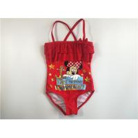 Red Minnie Young Girls Swimsuit Recycled Material Foil Printed Laser Cut Frill Cross Strap