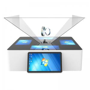 China 180° 270° 360° 3D Holographic Display Interactive Touch Pyramid Jewelry Kiosk For Mall on sale