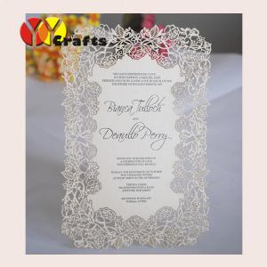 China Handmade menu cards Laser cut Rose flower design wedding handmade menu cards Printing service on sale
