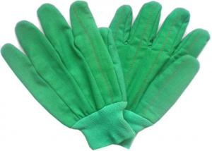 China Green Colour Cotton Working Hands Gloves With Knit Wrist For Winter Use on sale