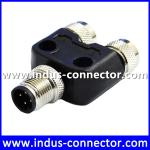 M12 A code 4 pin male to female waterproof t type connector for industry
