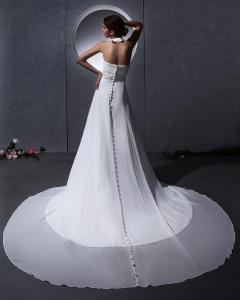 Quality Elegante alrededor de los vestidos de boda de la gasa del cuello con el tren de for sale