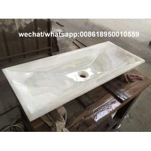 China White Onyx luxury bathroom rectangle sinks stone wash basin on sale