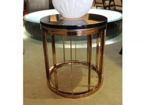 China Economic Temporary Hotel Coffee Table Round  With Golden Boarding High Standard on sale