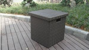 China Home Storeroom Black Resin Wicker Storage Box With White Cushion on sale