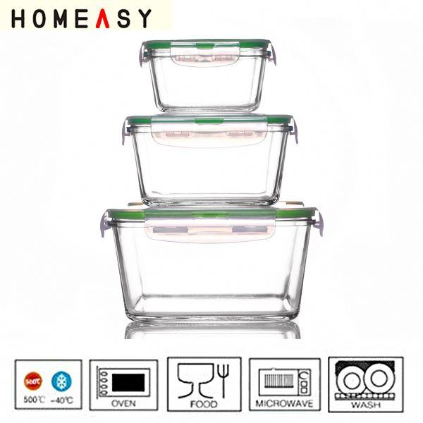 KOKO GLASS Oven safe pyrex glass lock container for sale