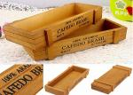 Printing Color Wooden Crate Gift Box , Custom Wooden Packaging Box Without Lid Wood Tray