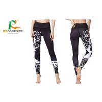 Dye Sublimation Custom Elastic Waist Sports Leggings , Womens Yoga Leggings