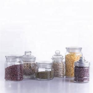 China bulk vintage glass candy jar with glass dome lid wholesale glass food packaging for kitchen on sale
