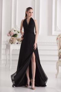 China 2013 New Fashion V Neck Womens Party Dresses , Black Chiffon Fabric on sale