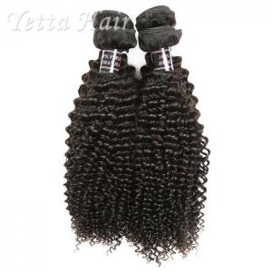 China Jet Black Indian Remy Human Hair / Kinky Curly Virgin Hair No Fiber on sale