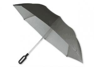 China UV Grey Folding Golf Umbrella , Mens Windproof Golf Umbrella Rubber Coating Handle on sale