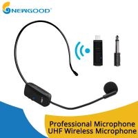 UHF Wireless Stereo Receiver Usb Microphone MIC Unidirectional Condenser Microphone Headband Sound Digital Rechargeable