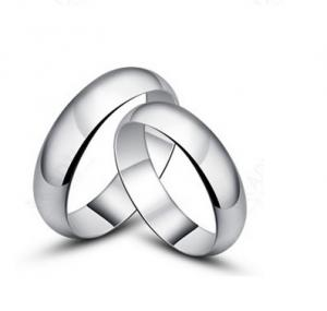 China Simple silver couple rings Korean jewelry trend glossy ring on sale