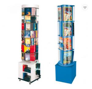 China Fashion Rotating Magazine Rack , Mdf Wooden Open Book Display Stand on sale
